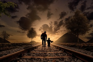 Father Son Walking Railraod Wallpaper