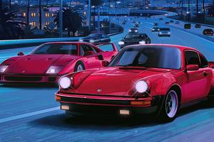 Ferrari Beside A 911 80s Vibes Wallpaper