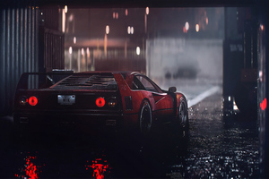 Ferrari F40 Rain 4k