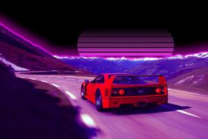 Ferrari F40 Retro Road 4k Wallpaper