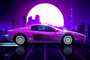 Ferrari Synthwave 4k