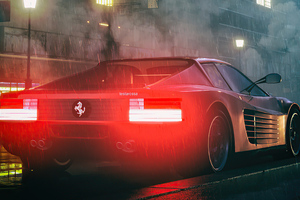 Ferrari Testarossa Digital Art 4k