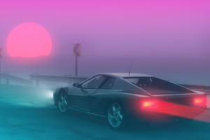 Ferrari Testarossa Synthwave 4k Wallpaper