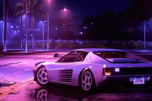 Ferrari Testarossa Synthwave Art 4k