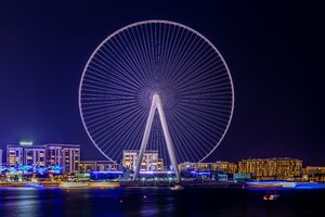 Ferris Wheel Landscape Dubai Uae Night Lights 5k Wallpaper