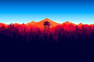 Firewatch Forest Mountains Minimalism 4k Wallpaper