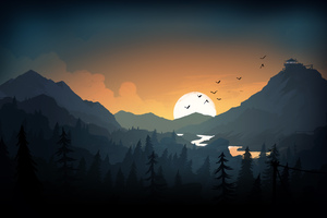 Firewatch Sun Trees Mountains Birds Lake Evening Wallpaper