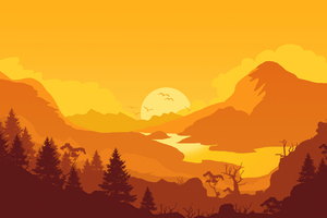 Firewatch Sunrise Minimal 4k Wallpaper