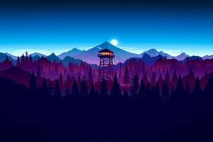 Firewatch Sunset Artwork Wallpaper