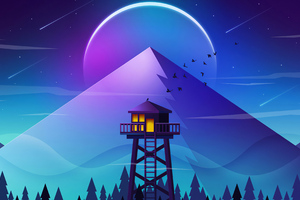 Firewatch Tower Minimalism 4k Wallpaper