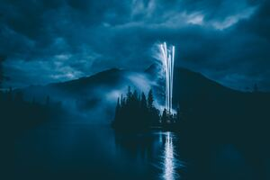 Fireworks Landscape 5k Wallpaper
