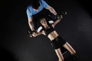 Fitness Girl Doing Workout Dumbbells
