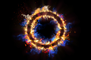 Flame Circle 3d Abstract 5k