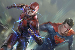 Flash And Superman Art Wallpaper