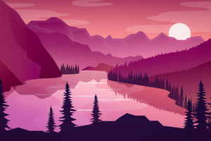 Flat Minimal Morning Landscape Lake 5k Wallpaper