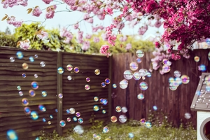 Flowers Trees Bubbles 4k Wallpaper