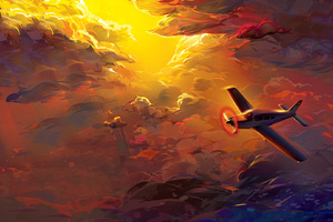 Flying Plane In Clouds Artwork HD