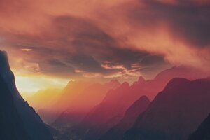 Fog Landscape Mountains Sunset 8k Wallpaper