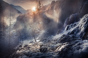 Fog Nature Sunbeam Waterfall Winter Wallpaper