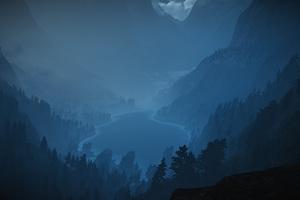 Foggy Lake Minimalism Landscape