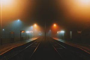 Foggy Train Platform 4k Wallpaper