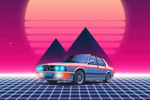 Fond Bmw Retrowave 4k Wallpaper