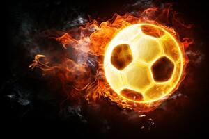 Football Soccer Fire Ball 4k