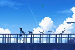 Footbridge Walk Anime Girl 4k Wallpaper