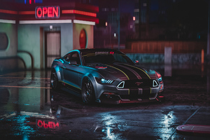 Ford Mustang Gt Neon Harmony 4k Wallpaper