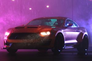 Ford Mustang Rain Vaporwave 5k