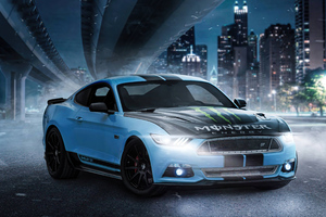 Ford Mustang Skyblue On Streets 5k Wallpaper