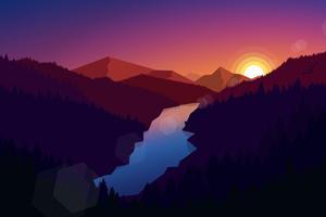 Forest Dark Evening Sunset Last Light Minimalistic