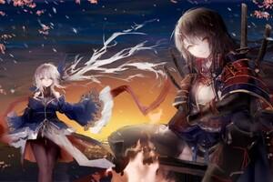 Forest Fires Anime Girls Wallpaper