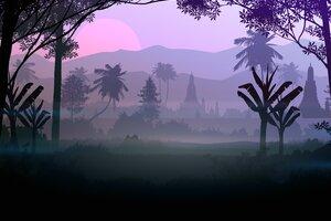 Forest Fog Silhouette 5k Wallpaper