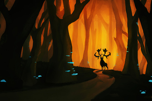 Forest God Reindeer 4k