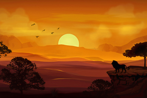 Forest Lion Morning Sunrise Illustration 4k Wallpaper
