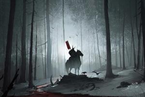 Forest Samurai 4k Wallpaper