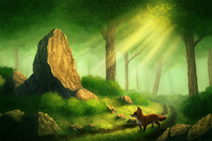 Fox Alone In Forest Digital Art