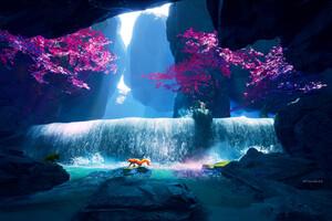 Fox Crossing Purple Water 4k Wallpaper