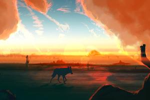 Fox In Desert Minimal Art