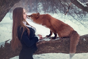Fox With Girl Depth Of Field