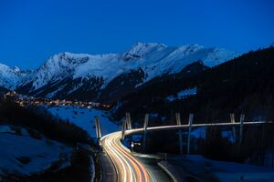 Freeway Light Trails Long Exposure Wallpaper