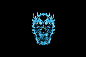 Frozen Glowing Skull Minimal 4k Wallpaper