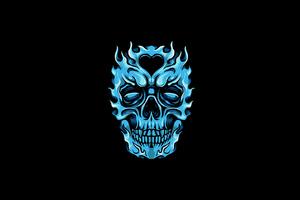 Frozen Glowing Skull Minimal 4k