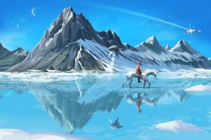 Frozen Lake Horse Ride Wallpaper