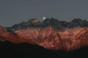 Full Moon Behind Mountain Dark Evening Late Sunset 5k