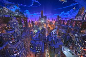 Future City Comic Art Wallpaper