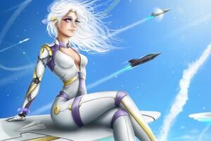 Future Rocket Plane Fantasy Anime Girl