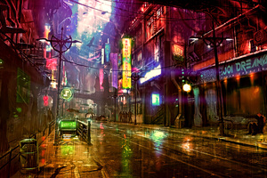 Futuristic City Cyberpunk Neon Street Digital Art 4k
