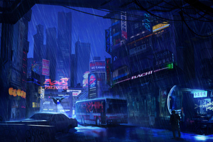 Futuristic City Dark Evening Rain 4k Wallpaper